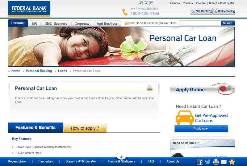 federal bank launches byom car loan estrade india business news financial news indian. Black Bedroom Furniture Sets. Home Design Ideas