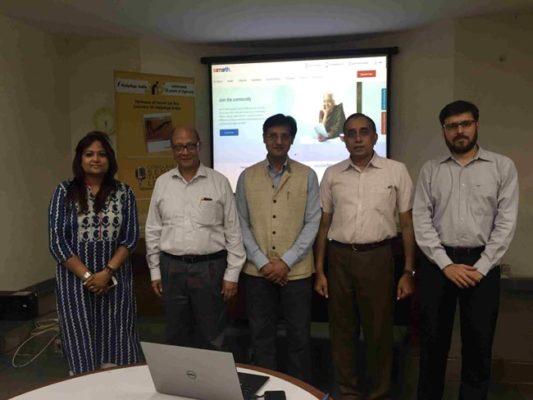Portal launch Swati, Probir Sen, Asheesh Gupta, Mathew Cherian, Dinesh Budhiraja