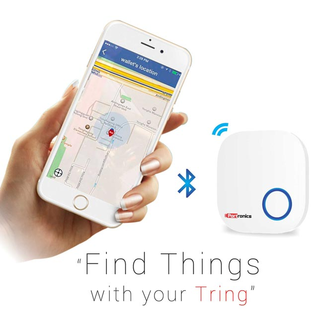 "Protronics ""Tring"" Key Finder Function: After pairing with smartphone, you just need to attach Tring to any of your valuables like wallet, keychain, or handbags. Now, if you misplace any of these articles, you just need to press a button in ""Tring Track"" app of your paired smartphone."