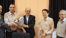 (From left): Mr. Hrishikesh Rao, Mr. Rabi Rout, Mr Gyana Pattnaik, Mr. Krishnmoorthy R. from L&T Technology Services and Prof. Navakanta Bhat, Prof. Rudra Pratap, Prof. S. Mohan from CeNSE, IISc