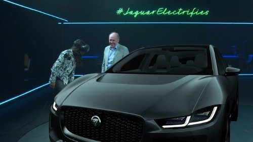 Michelle Rodriquez views the new Jaguar I-PACE Concept in virtual reality at the global reveal of Jaguars first ever fully electric car.