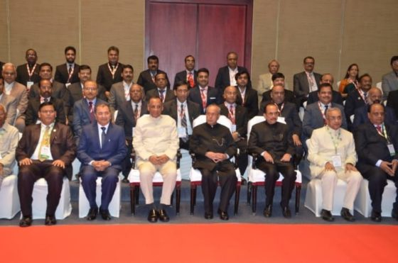 Group Photograph of FTAPCCI team with President of India Pranab Mukherjee and ESL Narasimhan, Governor of TS & AP states on the occasion of Centenary Celebrations of the organisation