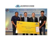 Left to Right Mr. Raj Neravati Founder and CEO of Hug Innovations Corp receiving first prize from Mr. Niu Xiping Detachment Captain, Human Resources and Social Security Administration of Shenzhen Municipality