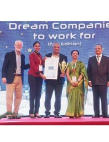 Raghurama Kote, COO Of Opteamix receiving the Award at World HRD Congress for 46th Best Company to Work - 2016