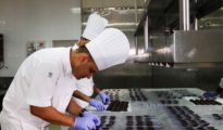 Chef Santosh Rawat attempts to set the record for the 'longest line of chocolate eggs'