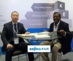 Dr. Homan Jiang, MD, Keywa (left), interacts with a guest at Chemspec India 2017, held in Mumbai recently