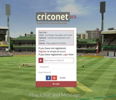 CRICONET, a New Social Website for Cricket Lovers, Launched in India