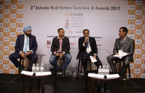 Panel Discussion at the 3rd Estrade Real Estate Conclave & Awards 2017 - Singapore, (L - R): Ashwinder Raj Singh, CEO - ANAROCK, Arshi Pathan, Director - Moonpool Consulting Pte., Sudhir Nair, Director – CRISIL, Vishwasjeet Singh, Editor in Chief - Estrade