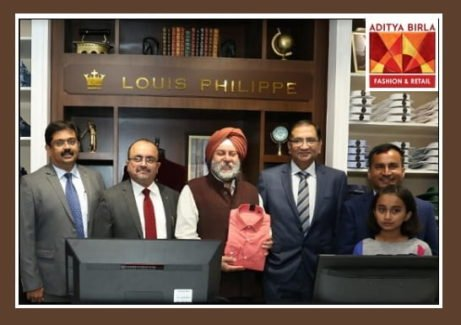 India's Ambassador to Nepal, H.E. Manjeev Singh Puri (3rd from left) along with Mr. Vikram Shivadas, Director, International Markets, Aditya Birla Fashion and Retail Ltd. (2nd from left) and Mr. Rupesh Pandey, Director, RP Group Pvt. Ltd. (5th from left) at the inauguration of Aditya Birla Fashion and Retail Ltd's brand Louis Philippe at Labim Mall, Lalitpur