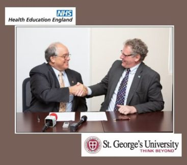 HEE WAST Agreement: (L) Dr. G Richard Olds, President of SGU; (R) Professor Ian Cumming, Chief Executive of Health Education England.