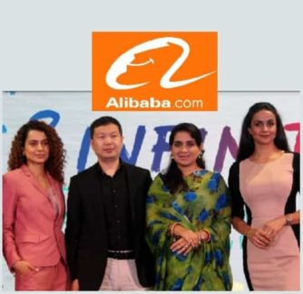 L to R:  Ms. Kangana Ranaut,  India Actress, Mr. Shunyan Zhu, President of UC, Alibaba Digital Media and Entertainment Group, Ms. Shaina NC, Fashion Designer & Social Worker & Ms. Gul Panag, Indian actress and Founder of Col. Shamsher Singh Foundation