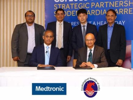 Mr. Omar Ishrak, Chairman and CEO, Medtronic (siting at right), Dr. Prafulla Kerkar, Organizing Secretary, Cardiological Society of India 2018 and HoD, Cardiology, King Edward VII Memorial Hospita (sitting at left), standing L-R, Mr. Abhishek Dubewar, Senior Director, Cardiovascular Group, Medtronic Indian Subcontinent, Mr. Madan Krishnan, VP and MD, Medtronic Indian Subcontinent, Mr. Chris Lee, President, Asia Pacific, Medtronic and Dr. Akshay Mehta, Organizing Committee Member Cardiological Society of India 2018 during the signing ceremony in Mumbai for the partnership to increase awareness about Sudden Cardiac Arrest by engaging 10,000 people including public and civil services personnel
