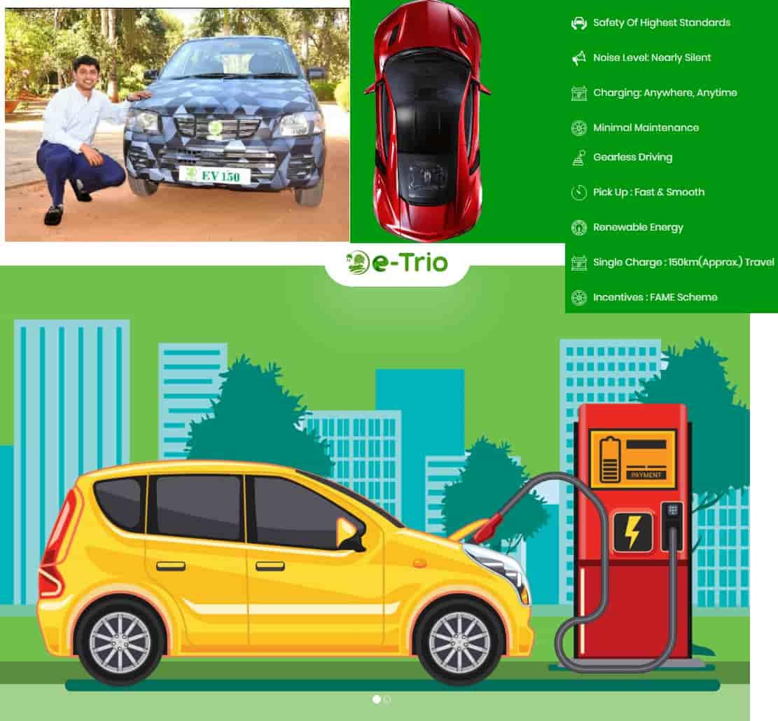 (Top Left) Sathya Y - Founder, E-trio Automobiles with Retrofitted Car