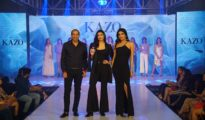 Deepak Aggarwal, MD, KAZO, Athiya Shetty & Divya Aggarwal, Creative Director, KAZO at the unveiling of KAZO's fragrance collection