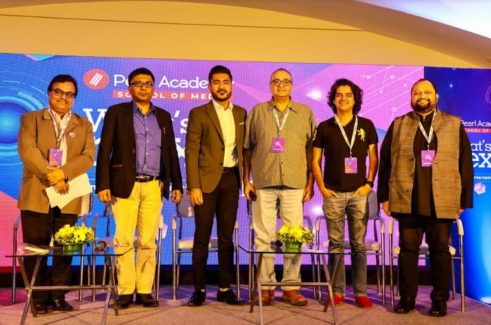 L-R: Prof. Ujjwal K Chaudhary, Dean - School of Media, Pearl Academy, Dipanjan Das, CEO, GreyCells18 Media; Rahul Gangwani, Digital Head, Filmfare magazine; Vivek Vaswani, Writer, Actor, Director; Mayank Shekhar, Entertainment Head, Mid Day & Ashish Kulkarni, Chairman of FICCI for Animation, Visual Effects, Gaming and Comics Forum