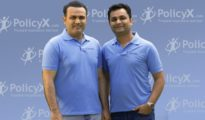 Cricketer Virender Sehwag with Naval Goel, CEO & Founder of PolicyX.com
